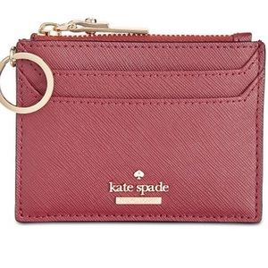RED KATE SPADE CARD HOLDER WALLET WITH KEYCHAIN